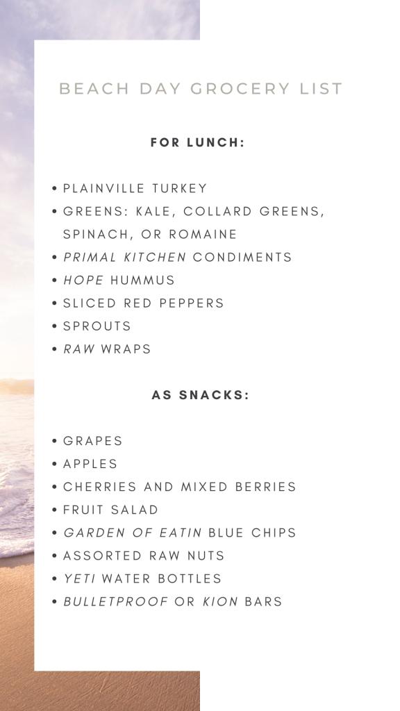 Nikki's Beach Day Grocery List